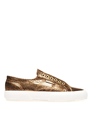Superga Womens 2750-Syncrackleatherw Womens Sneakers in Pink Synthetic Gold