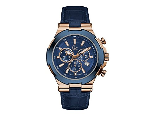 GUESS Men's Gc Blue and Rose Gold-Tone Watch