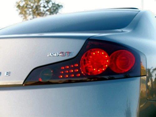 Aggressive Overlays Fits: Infiniti G35 Coupe - GTR Style 2 hole cutout - Smoked Vinyl Tail Light overlay kit film