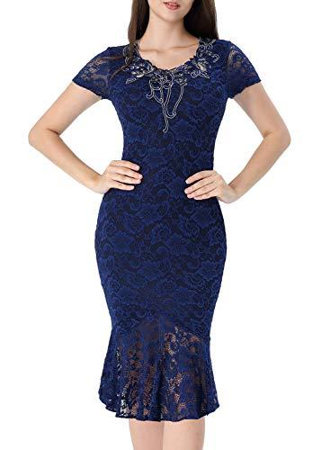 VFSHOW Womens Blue Floral Applique Lace Elegant Vintage Cocktail Party Bodycon Mermaid Midi Mid-Calf Dress 2725 BLU XS