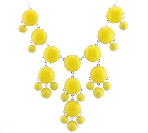 (Silver Tone Chain New Color Bubble BIB Statement Fashion Necklace - Yellow)