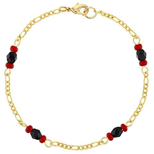 18k Gold Plated Simulated Azabache Evil Eye Protection Amulet Kids Bracelet 5.5