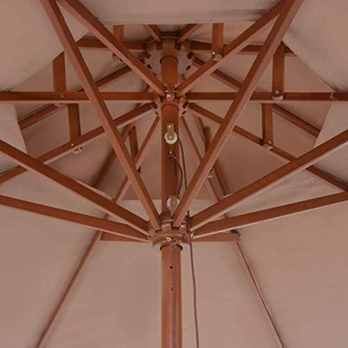 木製ポール付きダブルデッカーパラソル270 cmトープホームガーデン芝生ガーデン屋外生活屋外傘サンシェード