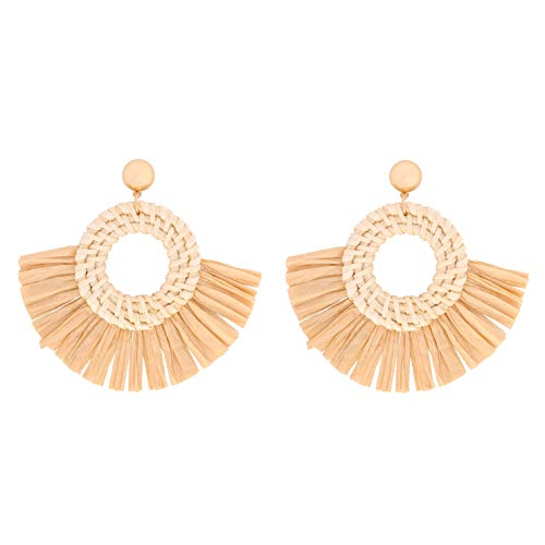 RIVERTREE Rattan Tassel Earrings for Woman Boho Handmade Straw Woven Drop Dangle Earring Hollow Hoop Wicker Knit Raffia -