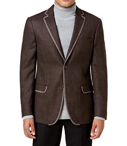(Tallia Mens Slim-Fit Melange Two Button Wool Blazer Brown)