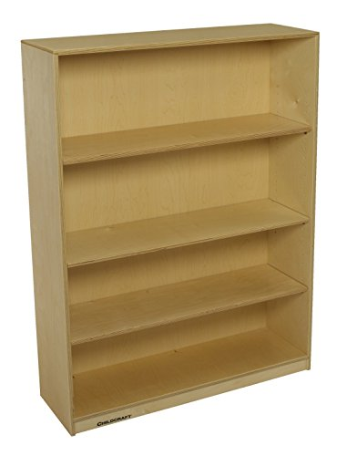(Childcraft 1291237 Adjustable Bookcase, Birch Veneer Panel, UV Acrylic, 3-Shelves, 36 x 11-3/4 x 36, Natural Wood Tone)