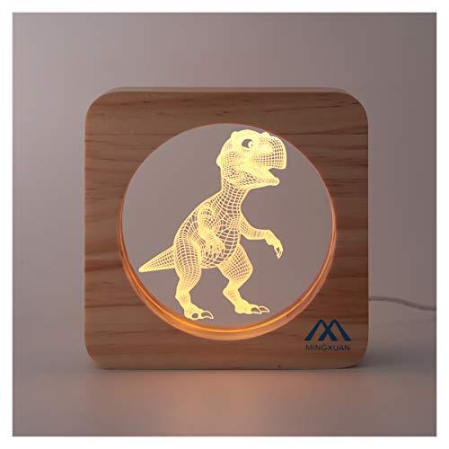 nosaurus Rex Dinosaur 3D Optical Illusion Night Light Creative Wooden Frame USB Night Light Warm White Light Home Hall Kids' Room Nursery Décor Night Lamp Kids Girls Adult Gift ()