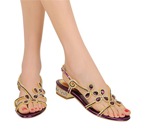 Women's Classic Buckle Design Fashion Rhinestone Thong Flat Sandals 01#purple pu rbFbtvNo1