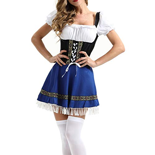 Fine Women Cosplay Dress, Halloween Carnival Oktoberfest Beer Festival Cosplay Bavarian Costume German Dirndl Tavern Maid Dress (Blue, XXXL) ()