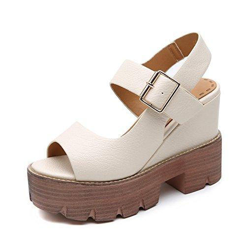 Europa y los estados unidos pendiente con sandalias/Zapatos romanos gruesos zapatos de tacón ultra B