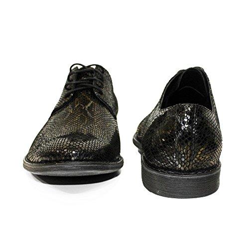 PeppeShoes Modello Sino - Handgemachtes Italienisch Leder Herren Schwarz Oxfords Abendschuhe Schnürhalbschuhe - Ziegenleder Geprägtes Leder - Schnüren