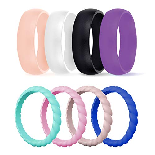 DSZ Silicone Wedding Ring for Women, Mixed Classic & Thin Rubber Band for Sports & Active Women's (Sandpink, Turquoise, Royal Black, White, Sandpink,Light Pink, Turquoise,Royal Blue, 4)