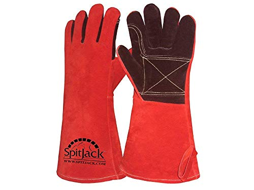 SpitJack Deluxe Heat Resistant Insulated Thermal Gloves for High Heat Grilling and BBQ, Barbecue Grilling Gloves for Fireplace and Hearth ()