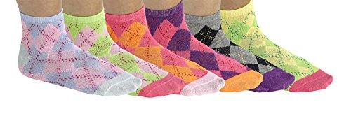 Debra Weitzner Women's 6-pack Cotton-blend Colorful Argyle Print Summer Ankle - Print Socks Argyle