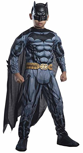 Black Batman Costumes Child (Rubies DC Comics Deluxe Muscle-Chest Batman Costume, Child Medium)