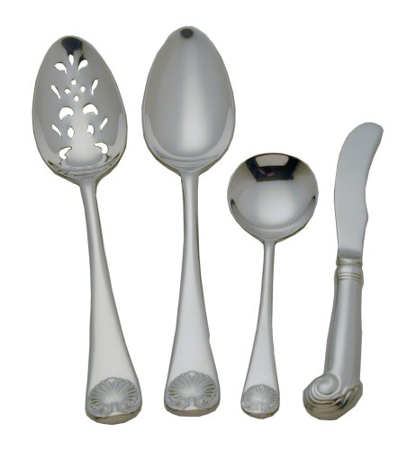 Colonial Williamsburg Royal Shell Stainless Steel Flatware 4 Piece Hostess Set