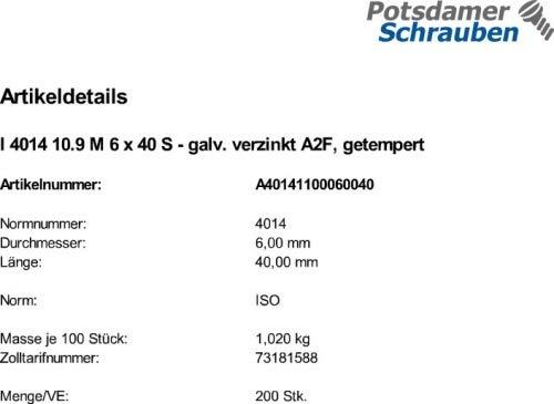 100 Sechskantschrauben ISO 4014 8.8 verzinkt M10x75