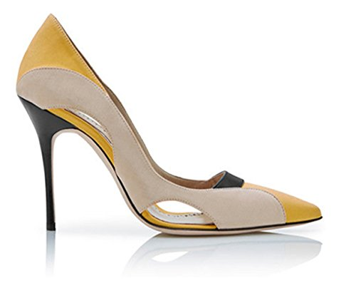 Honeystore Mujeres Ahueca Hacia Fuera Los Tacones De Aguja Bombas De Color De Empalme Commutación Zapatos Amarillo