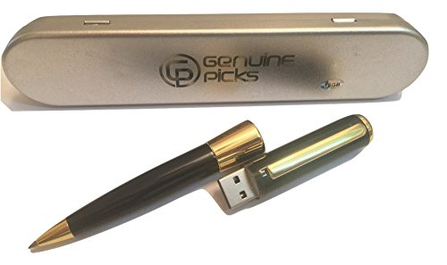 Premium Quality Elegant Ballpoint Pen USB Flash Drive 16GB, Fancy Pen Gift Box. Grade A Quality. USB Pen. Ballpoint Pens Luxury. Business Gifts Idea by Genuine Picks (16GB, Black & Golden)
