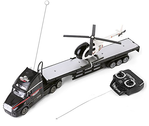 SumacLife Full Function Remote Controlled Black Big Rig Flatbed Hauler RC Toy with Black and White Helicopter Chopper (Helicopter Function Rc Full)