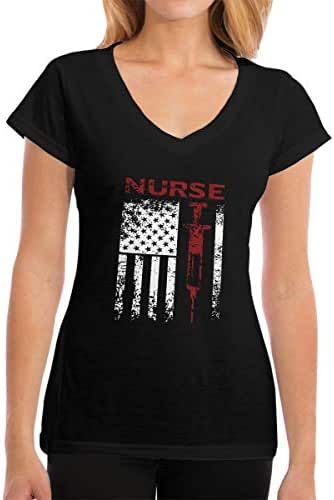 Zhangyi Women's Nurse USA Flag Needle V-Neck Cotton Shirts Short Sleeve