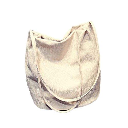 Mengonee Femmes PU Sac à bandoulière en cuir Fille Seau Cross Body Bag Lady Grande Capacité solide Pattren Sac à main Femme Sac Blanc