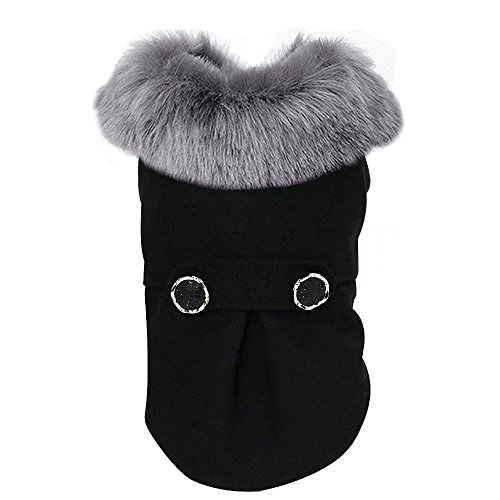 Didog Peacoat Puppy Dog Cat Coat Jacket with Fur Collar for Cold Weather,Black,M Size