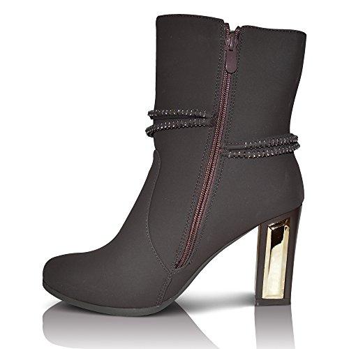 Xelay Damen Chelsea Stiefel Blockabsatz Knöchel Mit nieten besetzt Reißverschluss Größe UK 3 - 8 Dunkelbraun