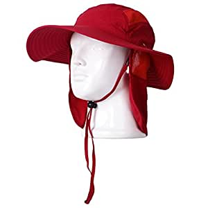 Piao-cap UPF 50+ Summer Hat with Neck Protection Flap for Fishing Hiking Garden Work Outdoor Activities (red)