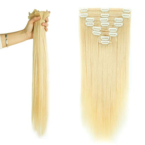 Double Weft 100% Remy Human Hair Clip in Extensions 14''-22'' Grade 7A Quality Full Head Thick Thickened Short Soft Silky Straight 8pcs 18clips for Women Beauty (12