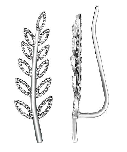 Elensan Women's Olive Leaf Ear Crawlers Branch 925 Sterling Sliver Cuffs Earrings