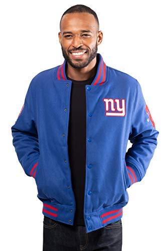 Ultra Game Men's NFL Classic Varsity Coaches Jacket, New York Giants, Team Color, Large (Men Team Varsity Jackets)
