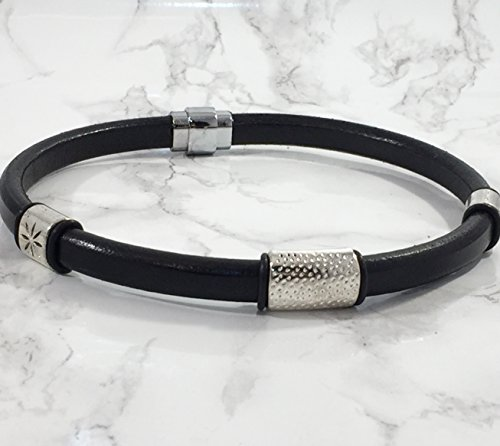Womens Choker Thick Black Licorice Leather Silver-Tone Accen