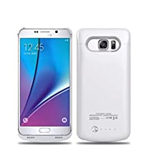 Galaxy Note 5 Battery Case, 2015 Newest 4200mAh Ultra Slim Rechargeable Extended Battery Charging Case for Samsung Galaxy Note 5, Backup External Battery Charger Case, Portable Backup Power Bank Case White