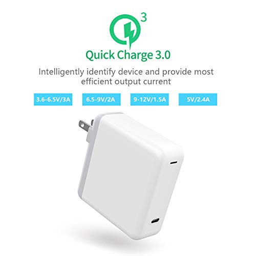 USB C Charger, Premium 61W Wall Charger with Foldable Plug & 3.3ft USB Type C Cable, Power Delivery Fast Charging USBC Brick for MacBook Air/iPad Pro 2018, iPhone XS/Max/XR/X/8/8+ and More