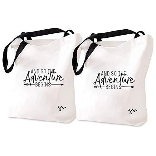 And So The Adventure Begins | Cotton Canvas Tote Bags (2) | Bride Tribe Bridesmaid Gift Bag Box | Bachelorette Bridal Cosmetic Purse Wedding Partys Favor Makeup Tote Bag Set [Pack of 2]