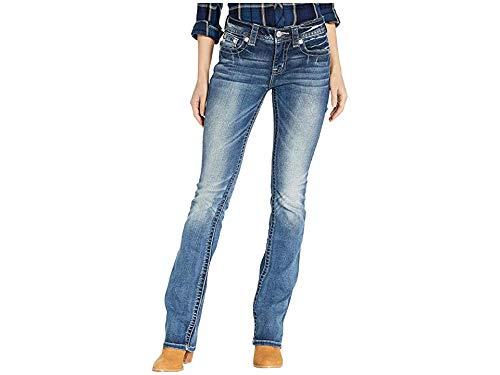 - Miss Me Women's Butterfly Faux Flap Slim Bootcut Jeans in Dark Blue Dark Blue 32 33