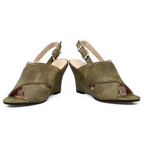 COOLCEPT Mujer Moda Punta Abierta Slingback Sandalias Tacon Alto Tacon De Cuna Zapatos Verde