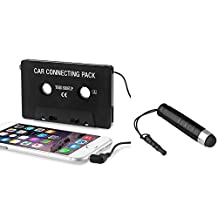 Insten Car Cassette Tape Adapter with Dust Cap Compatible for iPad Mini 3 / iPad Air 2 / Apple iPod Touch Mp3, LG G6, Samsung Galaxy S8 / S8+ S8 Plus