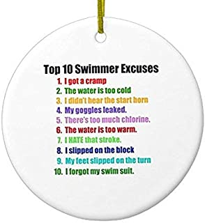 Decorazioni dell' Albero di Natale Top Ten nuotatori Excuses in Ceramica a Forma di Cerchio Rotondo Natale Ornamento Mestieri Xmas Gift