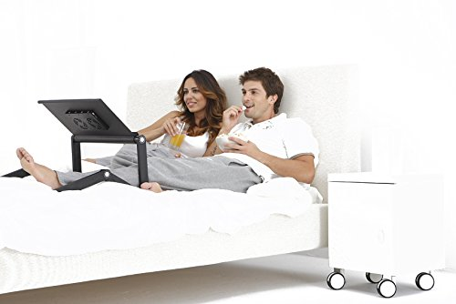 Portable Adjustable Laptop Desk/Stand/Table-Vented w/CPU Fans Mouse Pad Side Mount-Notebook-Macbook-Light Weight Ergonomic TV Bed Lap Tray Stand Up/Sitting-Black by My Luxury Outlet (Image #4)