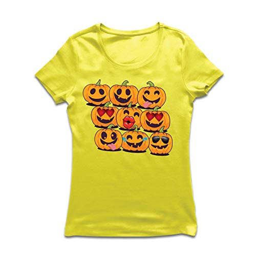 lepni.me Women's T-Shirt Pumpkin Emoji Funny Halloween Party Costume (Medium Yellow Multi -
