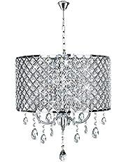 UISEBRT Kristallen lampenkap kroonluchter E14 - moderne hanglamp plafondlamp kroonluchter hanglamp lampenkap woonkamer lamp slaapkamer keuken licht (geen gloeilamp inbegrepen)