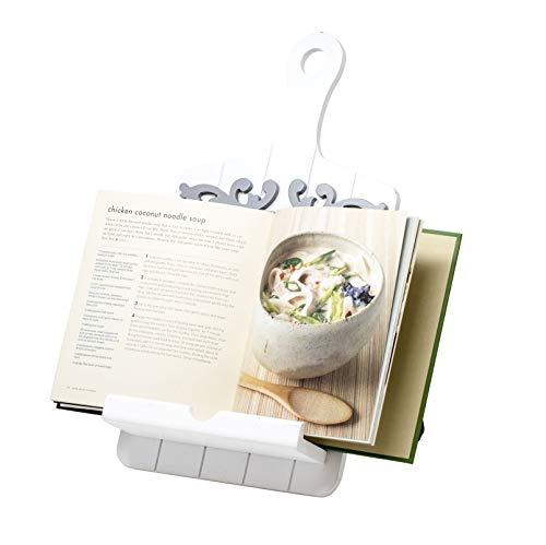 Boston Warehouse Cookbook and Tablet Holder, White Scroll