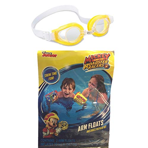 (Red's Toy Shop Arm Floats and Goggles Mickey and The Roadster Racers Themed Summer Swimming Bundle)