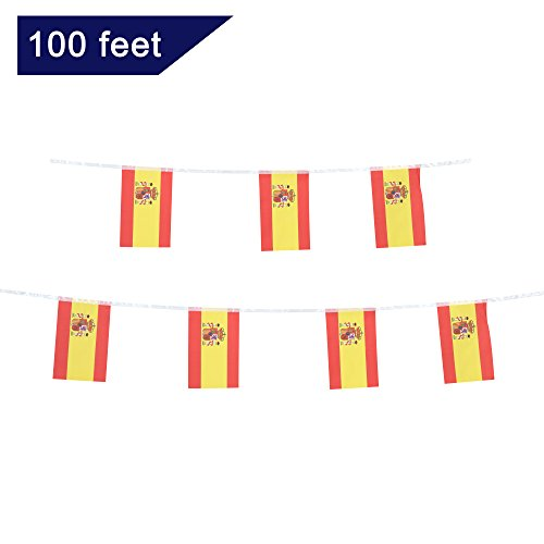 TSMD Spain Flag, 100 Feet Spanish Flag National Country World Pennant Flags Banner,Party Decorations For Grand Opening,Olympics,World Cup,Bar,School Sports Events,International Festival Celebration (National Spain Flag)