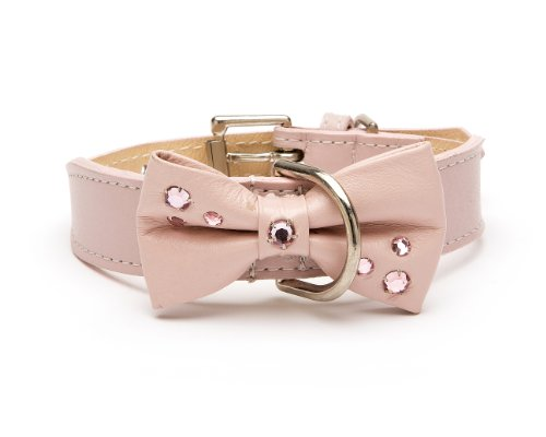 Bow Crystal Dog Collar,  Tapered Dog Collar, Extra Large Size 17-22, Pink with Large Crystal Studded Bow