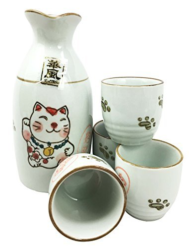 Japanese Maneki Neko Lucky Charm Cat Glazed Ceramic White Sake Set Flask With Four Cups Great Asian Living Home Decor and Gift For Housewarming Special Friendship Eastern Decorative Party Set