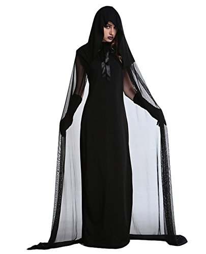 Long Black Witch Dress (Women's Halloween Haunted Gostume Black Ghost Zombie Dress Cloak Hood Costumes Black ( L ))