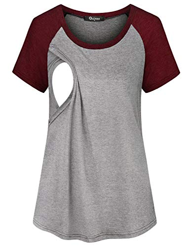 Quinee Casual Nursing Tunic Tops, Maternity Beautiful Solid Color Block Raglan Trapeze Flowy Breastfeeding Tee Shirts Pregnancy Lightweight Boutique Clothes Feeding Blouses Wine Large